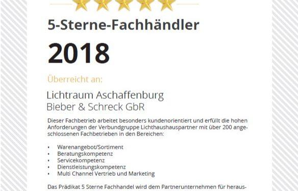 Auszeichnung zum f-Sterne Fachhändler Kundenorientierter Service von Lichtraum Aschaffenburg